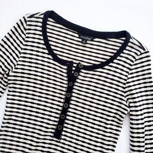 Lucky Brand Sweater Knit Striped Henley